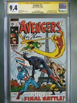 Avengers #71 CGC 9.4 SS Signed Roy Thomas 1st Invaders Black Knight Joins