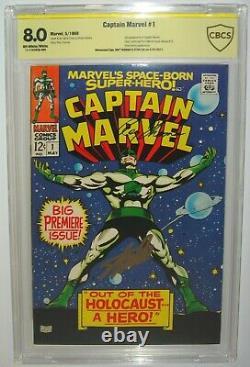 Captain Marvel #1 CBCSCGC 8.0 STAN LEE ROY THOMAN SIGNED SS Signature Series