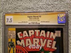 Captain Marvel 12 CGC 7.5 Marvel Comics 1969 SS Signature Series Stan Lee