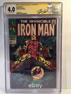 IRON MAN #1 CGC 4.0 Signature Series Signed Stan Lee 5/68