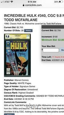 Incredible Hulk 340 CGC 9.8 McFarlane Signature Series