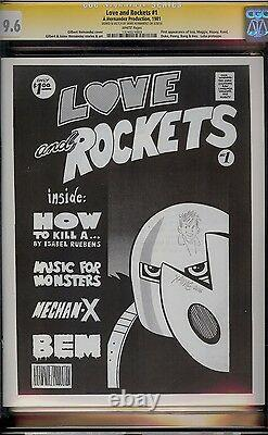 Love and Rockets # 1 CGC 9.6 White (1981) Signature Series with Hernandez sketch