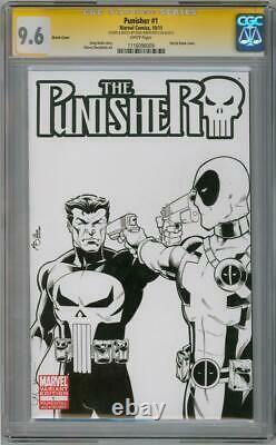 Punisher #1 Blank Cgc 9.6 Signature Series Signed Deadpool #54 Sketch Marvel