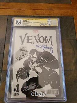 Venom 1 CGC 9.4 SS X3 Todd McFarlane sig & sketch Stan Lee Michelinie Spider-Man