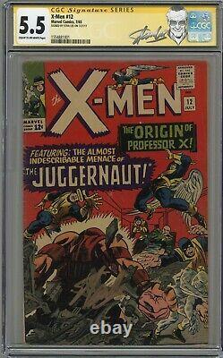 X-men # 12 Cgc 5.5 Stan Lee Signature Series! Cr-ow Pgs 1965
