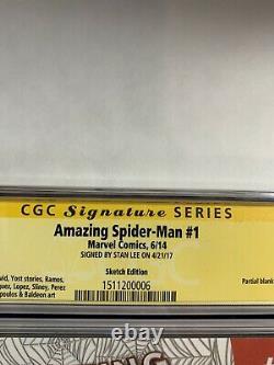 Amazing Spider-man 1 Cgc 9.8 Série De Signatures Signées Par La Variante Blanche Stan Lee 2014
