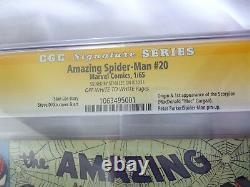 Amazing Spider-man #20 Cgc 9.0 Ss Signature Series-stan Lee-1er Scorpion 1 Sur 5