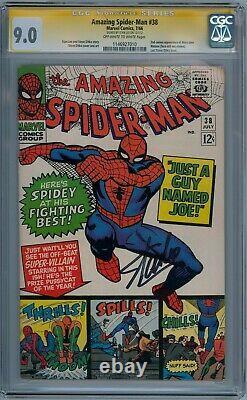Amazing Spider-man #38 Cgc 9.0 Signature Series Signé Stan Lee Last Ditko