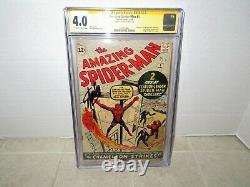 Amazing Spiderman #1 Cgc 4.0 Série De Signatures 1963 Signée Stan Lee