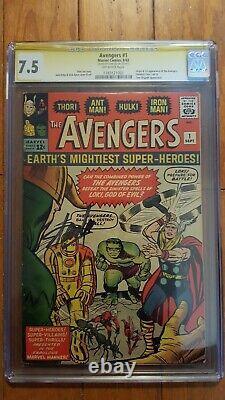 Avengers #1 Rare Cgc 7.5 Signature Série Stan Lee Signé