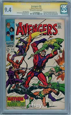 Avengers #55 1968 Cgc 9.4 Série Signature Signée Stan Lee 1ère App Ultron