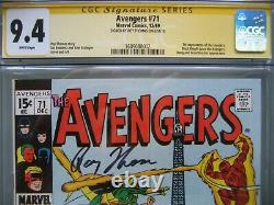 Avengers #71 Cgc 9.4 Ss Signé Roy Thomas 1st Invaders Black Knight Joins