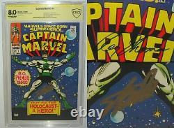 Capitaine Marvel #1 Cbcscgc 8.0 Stan Lee Roy Thoman Signed Ss Signature Series