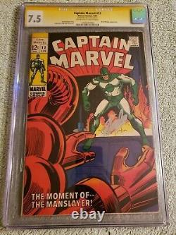 Capitaine Marvel 12 Cgc 7.5 Marvel Comics 1969 Ss Signature Series Stan Lee
