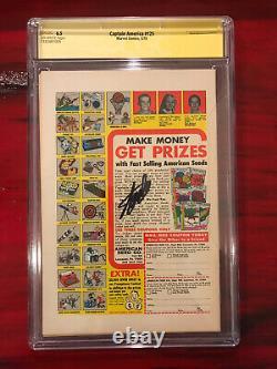 Captain America #125 Cgc 6.5 Ss Signé Stan Lee Signature Series Marvel Mandarin