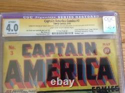 Captain America Comics # 3 Cgc 4.0 1941 Restored Signature Series Stan Lee