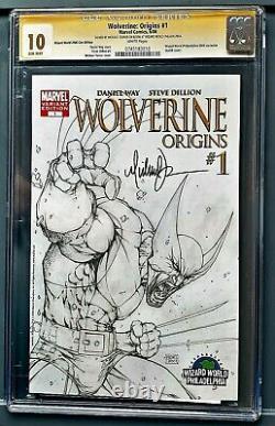 Cgc 10 Signature Series Wolverine Origins #1 Sketch Cover Signé Michael Turner