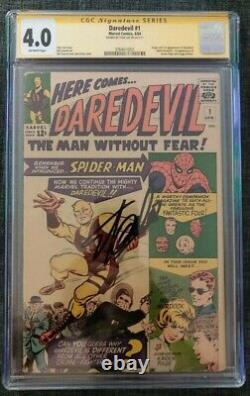 Daredevil #1 Cgc 4.0 Marvel Comics Ss Signature Series Stan Lee Nouveau Label