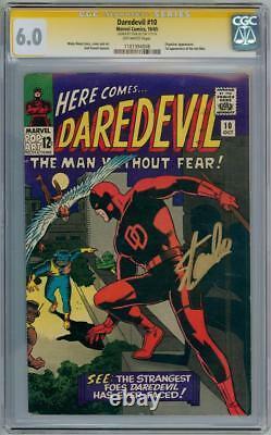 Daredevil #10 Cgc 6.0 Signature Series Signé Stan Lee Silver Age Marvel Comics