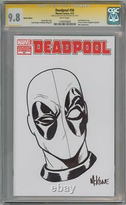 Deadpool #50 Blank Cgc 9.8 Série Signature Signée Mike Mckone Sketch Marvel