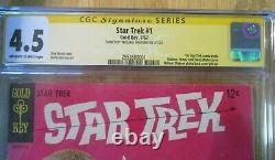 Étoile Trek #1 Gold Key 1967 Signé William Shatner Ss Cgc 4.5 Série De Signatures
