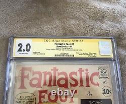 Fantastic Four #1 Cgc 2.0 Signature Series Stan Lee Marvel Clé