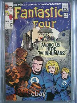 Fantastic Four #45 Cgc 6.5 Ss Signé Stan Lee & Joe Sinnott 1er Inhumains