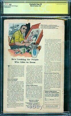 Fantastic Four 5 Cgc 2.5 1ère Série De Signatures Dr. Doom Stan Lee