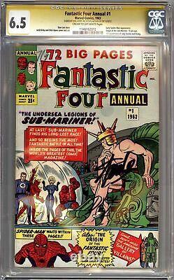 Fantastic Four Annual #1 Cgc 6.5 Signature Series Signé Stan Lee Dick Ayers