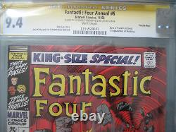 Fantastic Four Annual #6 Cgc 9.4 Ss Signé Stan Lee & Sinnott 1er Annihilus