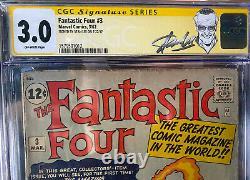 Fantastique Quatre 3 Cgc 3.0 Signature Series Stan Lee