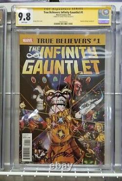 Infinity Gauntlet #1 Vrai Croyant Cgc 9.8 Série Signature George Perez Signé