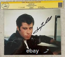 John Travolta A Signé 8x10 Grease Movie Photo Cgc Signature Series Témoin De L'aco