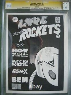 Love And Rockets #1 Cgc 9.6 Ss Signed & Sketch Jaime Hernandez 1ère Application Izzy