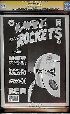 Love And Rockets # 1 Cgc 9.6 White (1981) Série Signature Avec Croquis Hernandez