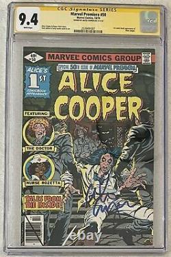 Marvel Première #50 Cgc 9.4 Série Signature Témoin Signé Alice Cooper 1ère Application