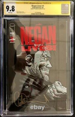 Negan Vit #1 Walking Dead Special Cgc 9.8 Série Signature Charlie Adlard
