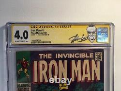 Série De Signatures Iron Man #1 Cgc 4.0 Signé Stan Lee 5/68