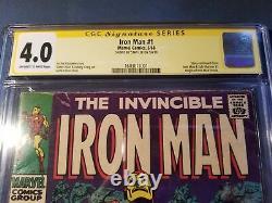 Stan Lee Signé Autographed Iron Man #1 Comic Book Cgc 4.0 Signature Series