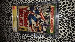Stan Lee Signé Ss Signature Series Captain America 102 Cgc 5.5 1968 Jack Kirby