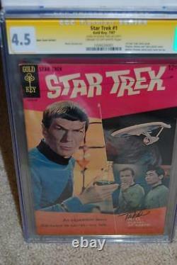 Star Trek #1 Cgc 4.5 Ss Signature Series! 1967 Étiquette Jaune George Takei B2 CM