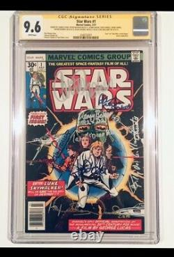 Star Wars #1 Cgc-ss 9.6 Signé 8x Carrie Fisher Mark Hamill Prowse Mcdiarm 1977