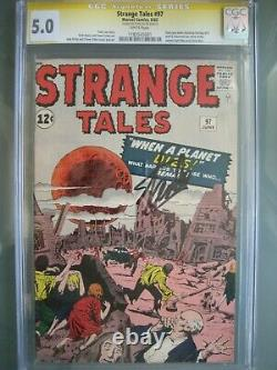 Strange Tales #97 Cgc 5.0 Ss Signé Stan Lee 1ère Tante May & Oncle Ben