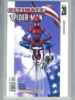 Ultimate Spider-man 28 Cgc 9.8 Ss Stan Lee Bendis Bagley 1 Sur 2 Sur Le Recensement Ss