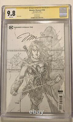 Wonder Woman #750 B&w Sketch Variante Signée Par Jim Lee Cgc Signature Series 9.8