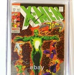 X-men #55 Marvel 1969 Cgc Signature Series Signée Par Roy Thomas Cgc 8.0 Vf